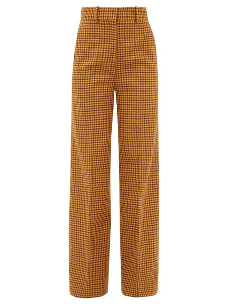 Khaite - Bernadette High Rise Checked Wool Trousers - Womens - Brown Multi