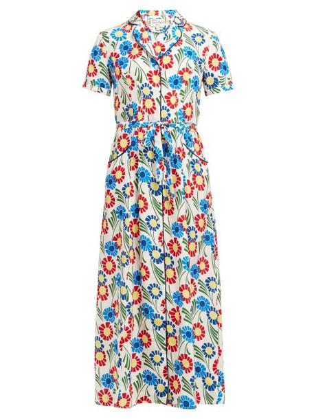 Hvn - Long Maria Sunflower Print Silk Midi Dress - Womens - Multi