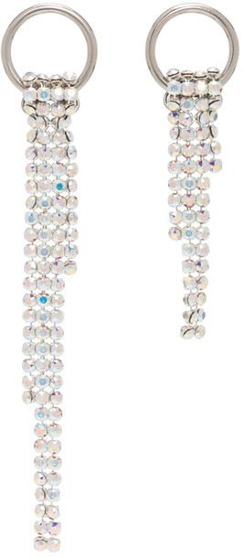 Justine Clenquet SSENSE Exclusive Silver & White Shanon Earrings