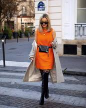 dress,mini dress,orange dress,mango,black boots,over the knee boots,tights,long coat,plaid,black bag,belt bag