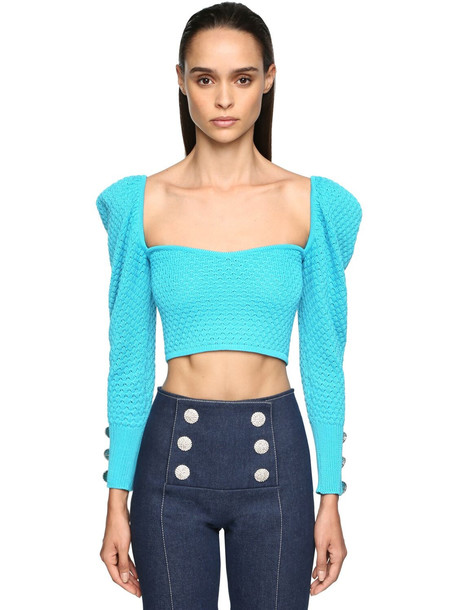 GIUSEPPE DI MORABITO Cropped Cotton Knit Top W/crystals in blue