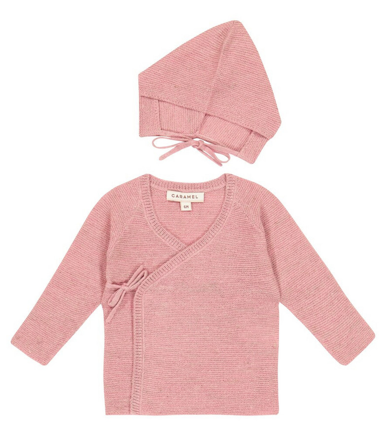 Caramel Baby Angelfish wool and linen cardigan and hat set in pink