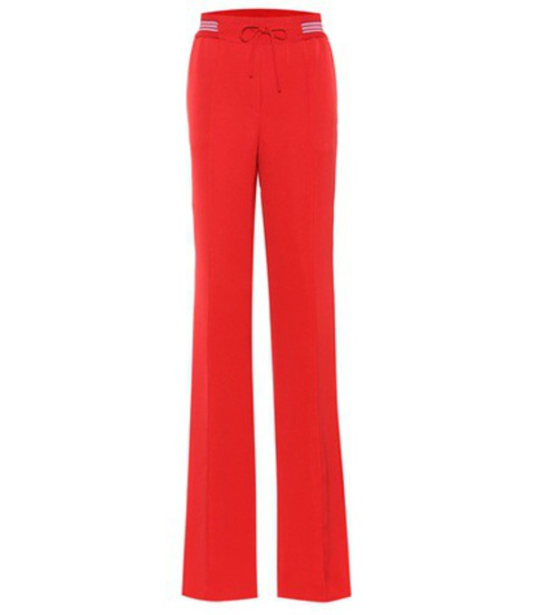 Valentino Silk-blend wide-leg trousers in red