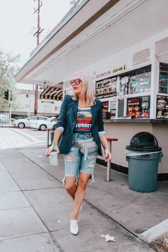 thehuntercollector blogger shorts t-shirt jacket ripped shorts spring outfits belt bag