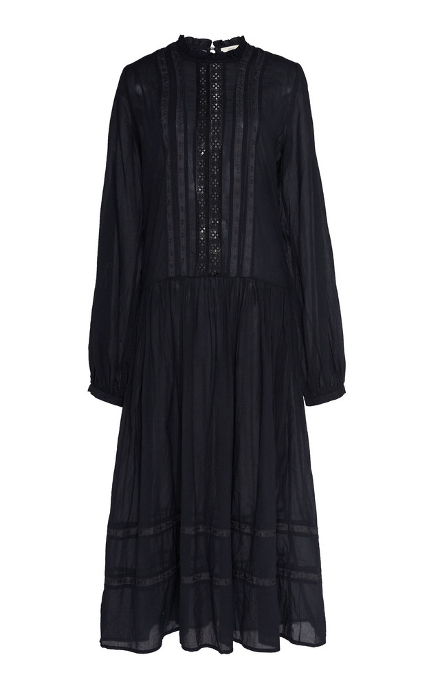Matin Este Lace-Trimmed Cotton-Voile Midi Dress in black