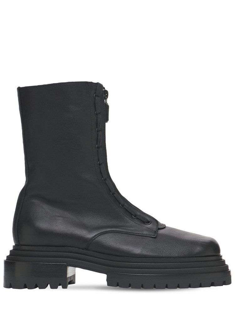 PACIOTTI 60mm Leather Combat Boots in black