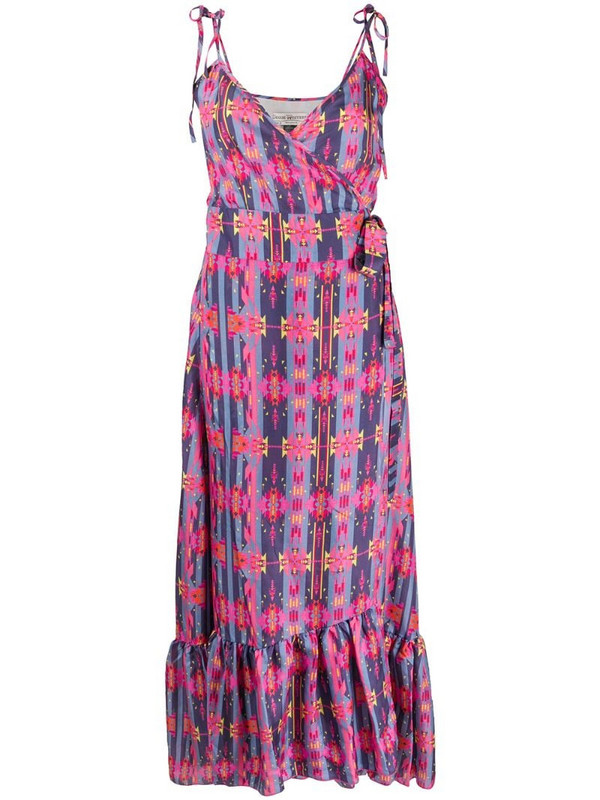 Jessie Western flounced geometric print silk dress in pink