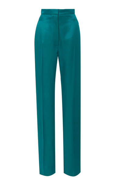 Carolina Herrera High Waisted Straight Leg Satin Suit Pants in green
