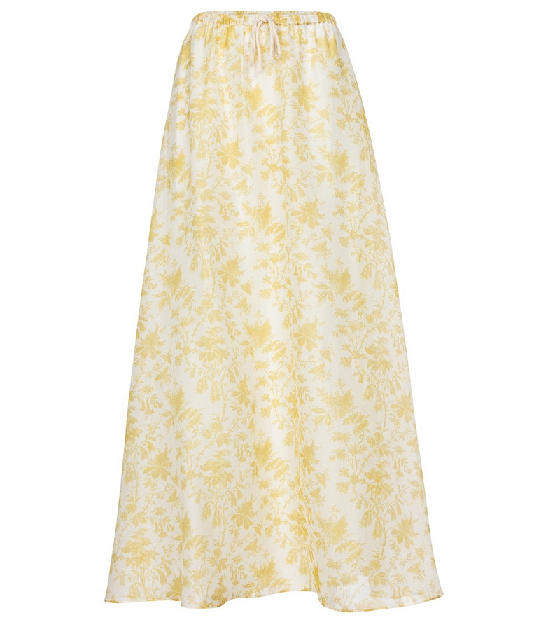 SIR Clementine cotton and silk maxi skirt in white