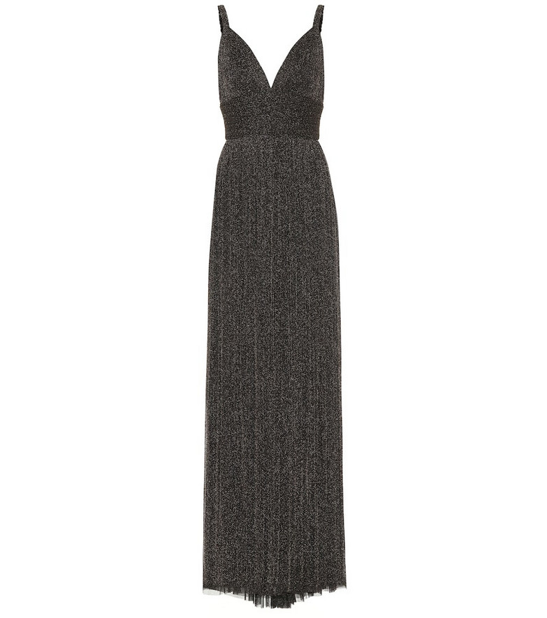 Elie Saab Metallic stretch-knit gown in black