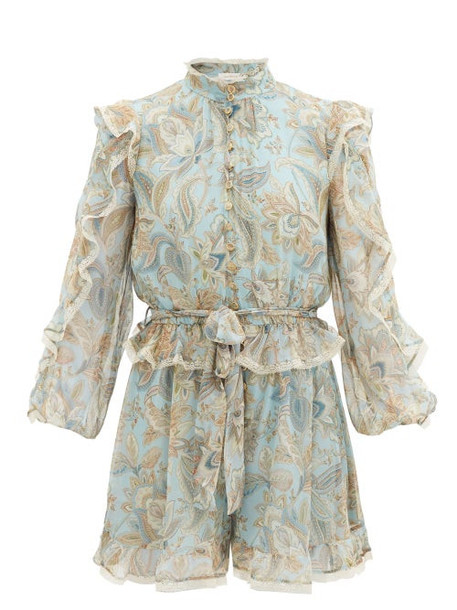 Zimmermann - Ladybeetle Ruffled Paisley-print Silk Playsuit - Womens - Blue Multi
