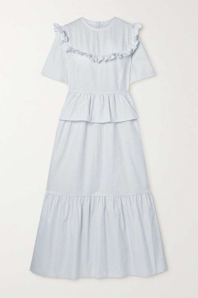 ÀCHEVAL PAMPA ÀCHEVAL PAMPA - + Net Sustain Victoria Tiered Ruffled Stretch-cotton Twill Dress - White