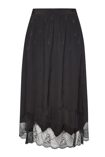 Zadig & Voltaire Joslin Silk Skirt with Lace in black