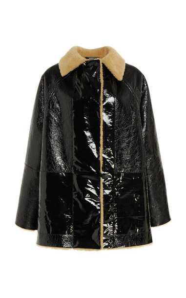 Kassl Reversible Patent Shearling Jacket in multi
