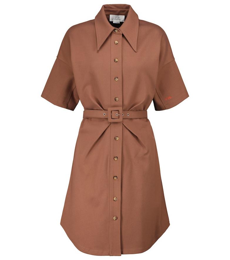Victoria Victoria Beckham Stretch-cotton blend shirt dress in brown