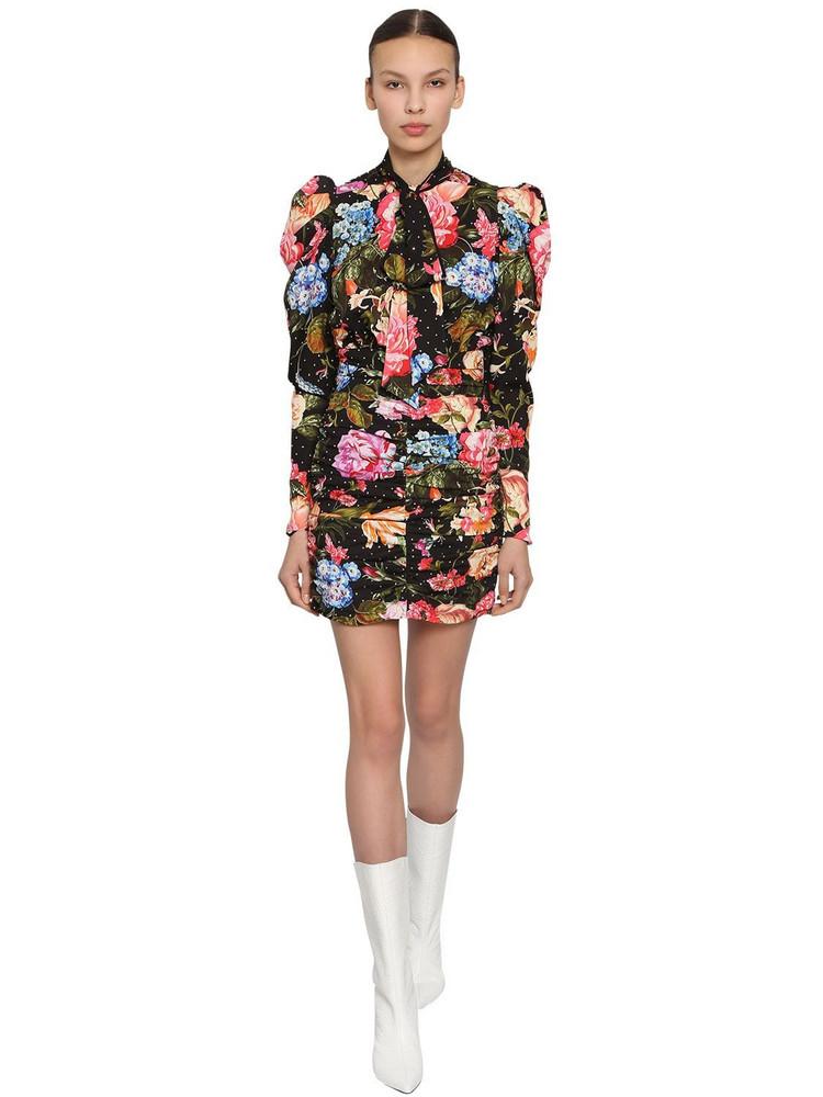 INGIE PARIS Printed Cady Mini Dress W/ Crystals in black / multi