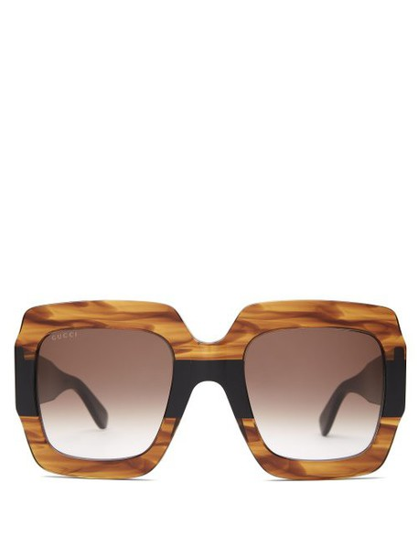 Gucci - Gg Square Frame Marbled Acetate Sunglasses - Womens - Brown