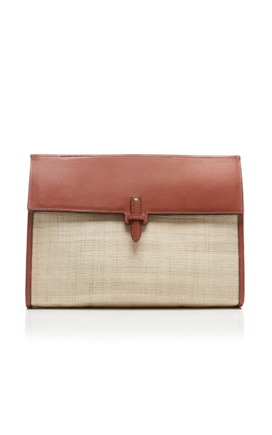Hunting Season Small Leather-Trimmed Woven Clutch in neutral