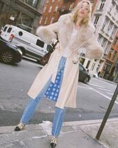 jeans,coat,fur coat,faux fur coat,elsa hosk,celebrity,model off-duty,fall outfits,instagram