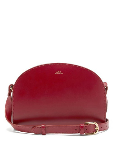 A.P.C. A.p.c. - Half Moon Leather Cross Body Bag - Womens - Red