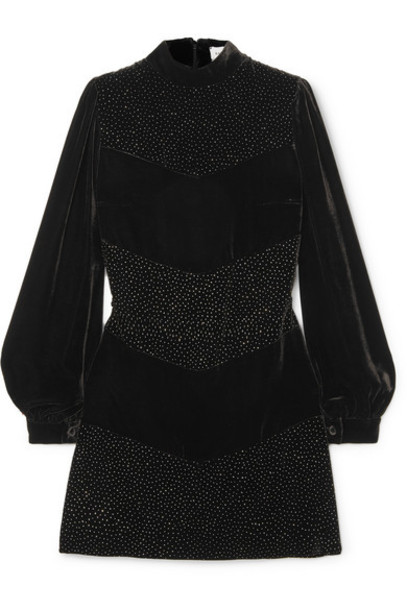 Raquel Diniz - Chloe Crystal-embellished Velvet Mini Dress - Black