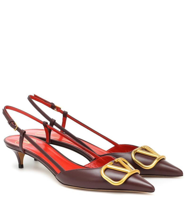 Valentino Garavani VLOGO leather slingback pumps in red