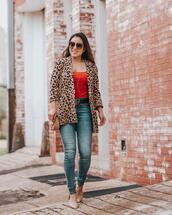 cute & little,blogger,jeans,belt,shoes,jewels,sunglasses,bag,gucci belts,gucci belt,leopard print,leopard cardigan,fall outfits