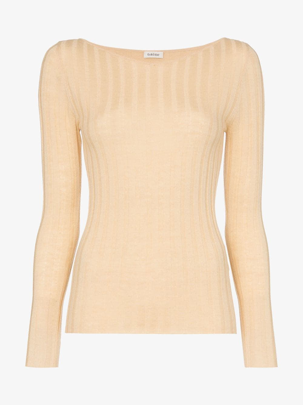 Toteme Toury ribbed wool and cashmere top in neutrals