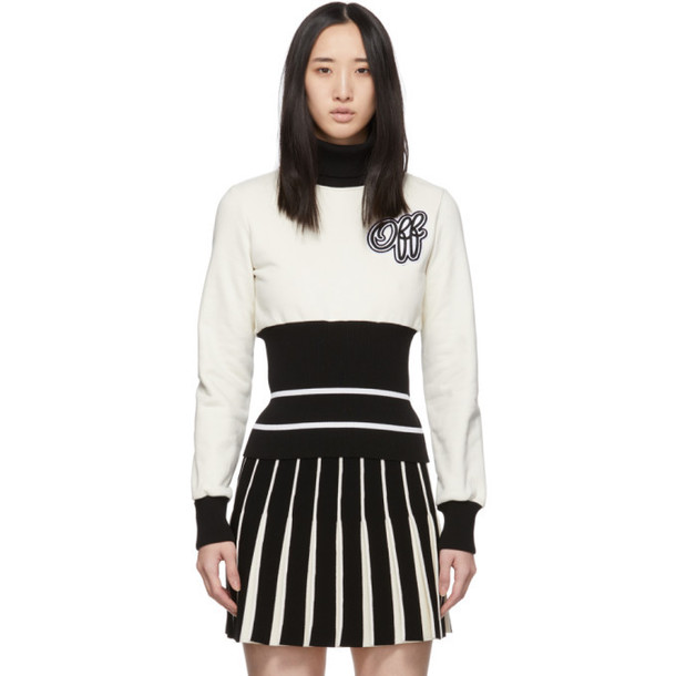 Off-White Black and Off-White Ribbed Cheerleader Turtleneck