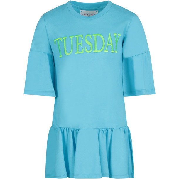 Alberta Ferretti Light Blue Girl Dress With Neon Green tuesday Writing