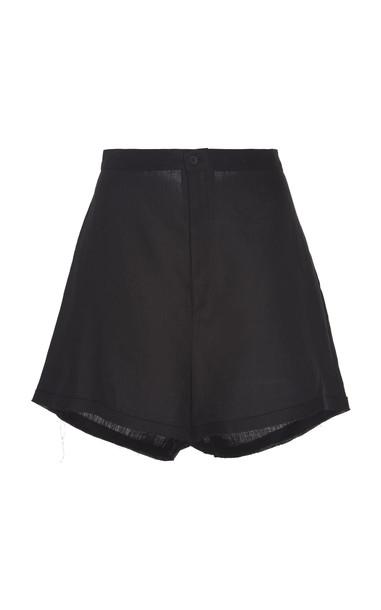 ALBUS LUMEN High-Rise Linen Shorts Size: 10 in black