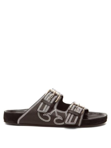 Isabel Marant - Lennyo Double-strap Topstitched Leather Slides - Womens - Black White