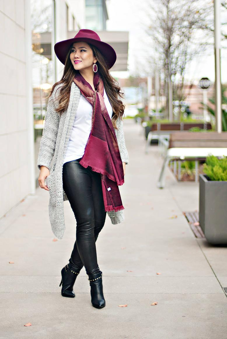 whatever is lovely – a houston life and style blog by lynne gabriel blogger t-shirt leggings cardigan shoes jewels hat scarf dress leather leggings ankle boots spring outfits grey cardigan