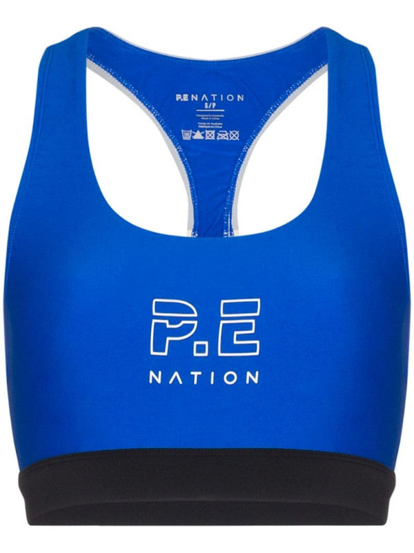 P.E Nation logo-print sports bra in blue