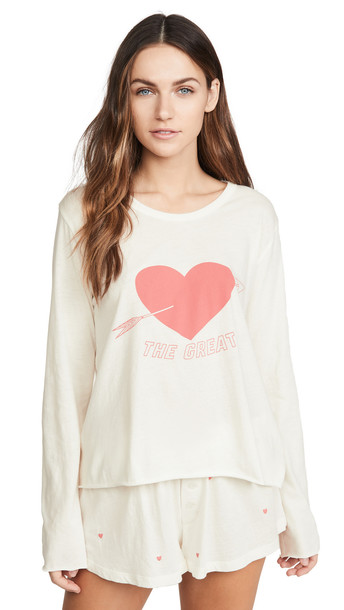 THE GREAT. THE GREAT. The Longsleeve Sleep Tee With Heart in white