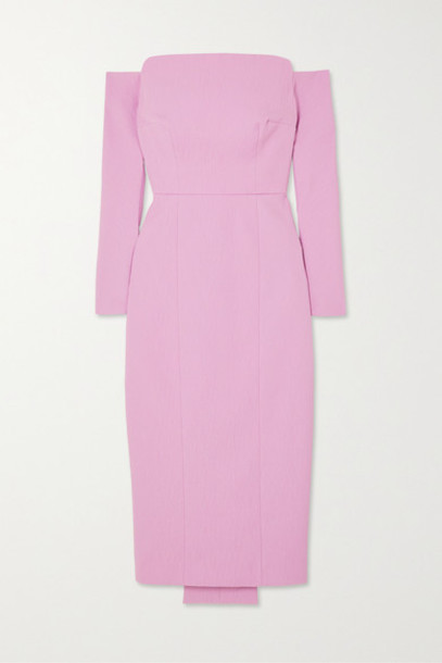 Emilia Wickstead - Nolan Off-the-shoulder Cloqué Midi Dress - Lavender