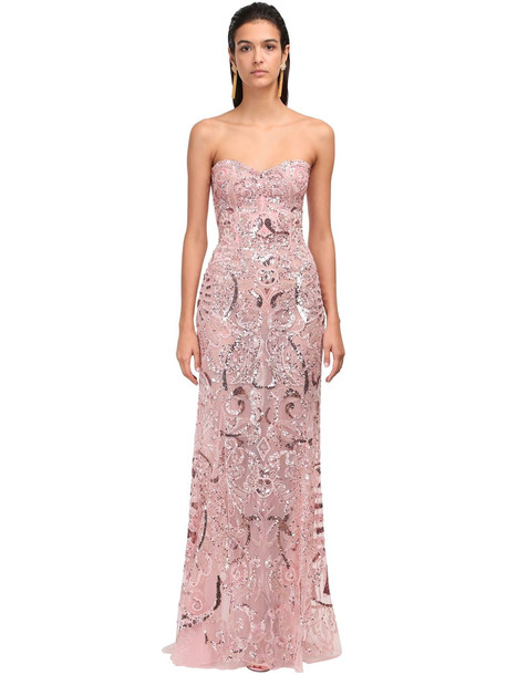 ZUHAIR MURAD Embellished Lace Strapless Mermaid Dress in pink