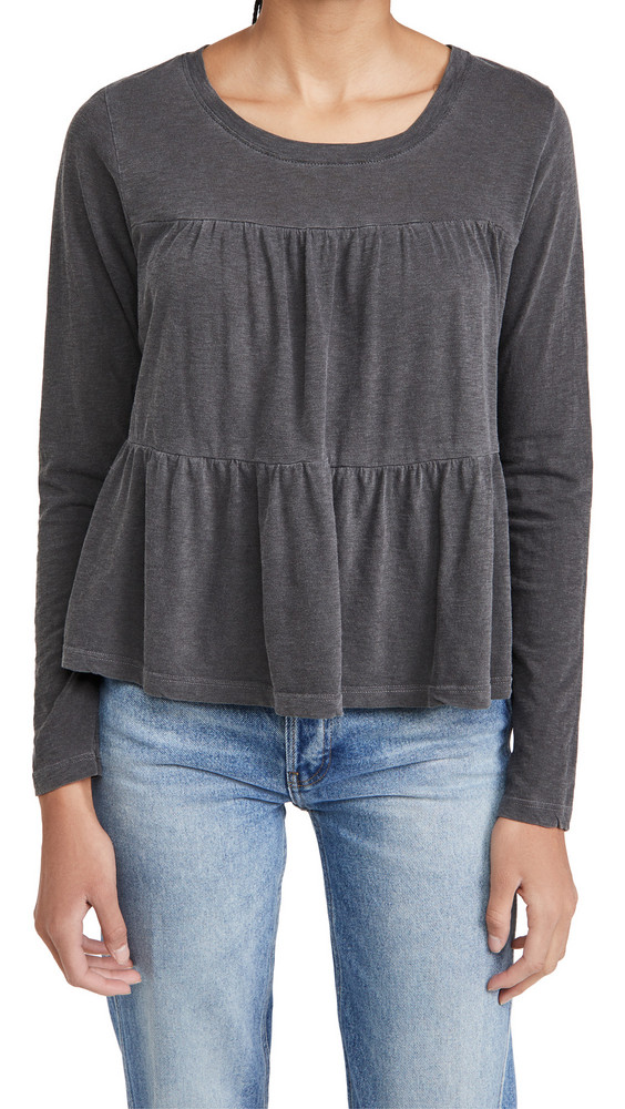 SUNDRY Tiered Long Sleeve Tee in charcoal