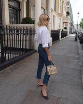 top,white shirt,high waisted jeans,slingbacks,handbag,burberry,skinny jeans