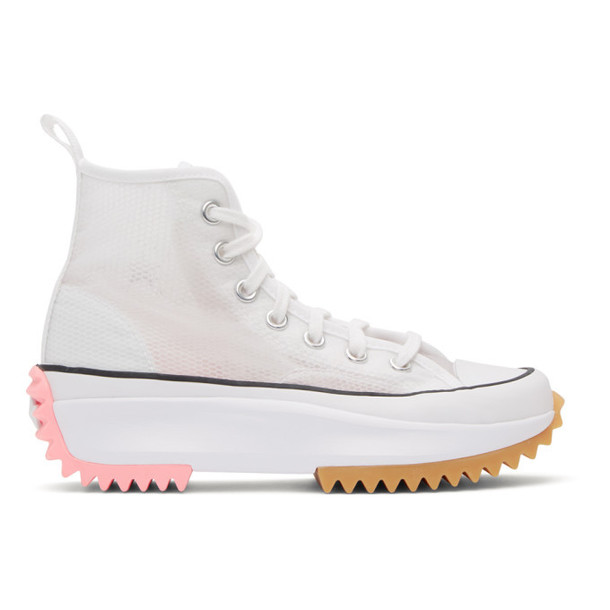 Converse White and Pink Run Star Hike High Sneakers
