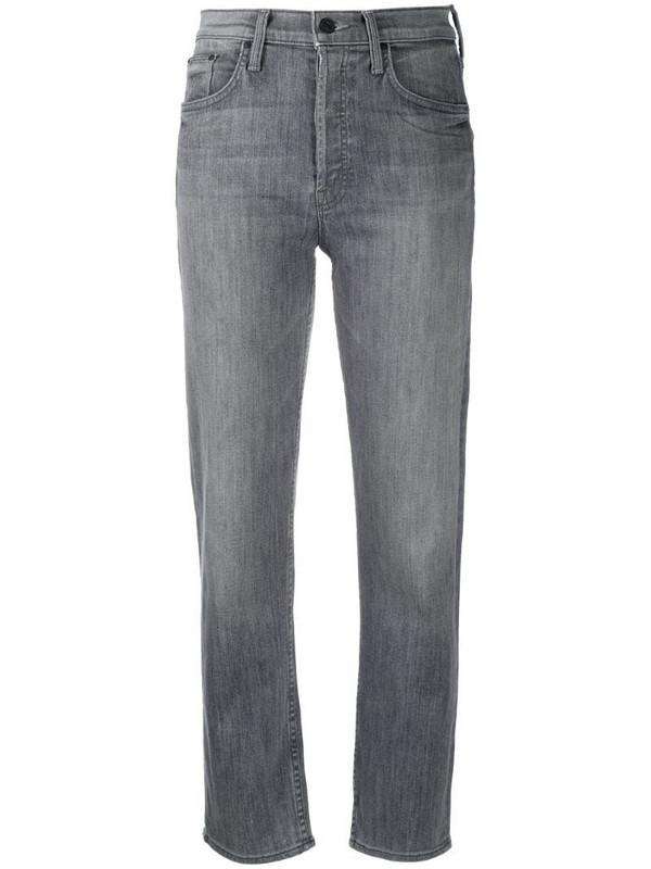 Mother All Nighter high-rise cropped jeans in grey