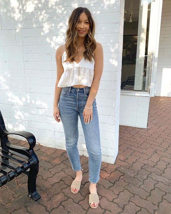 top crop tops white top high waisted jeans slide shoes tank top skinny jeans