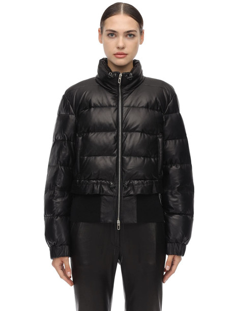 DROME Leather Down Jacket in black