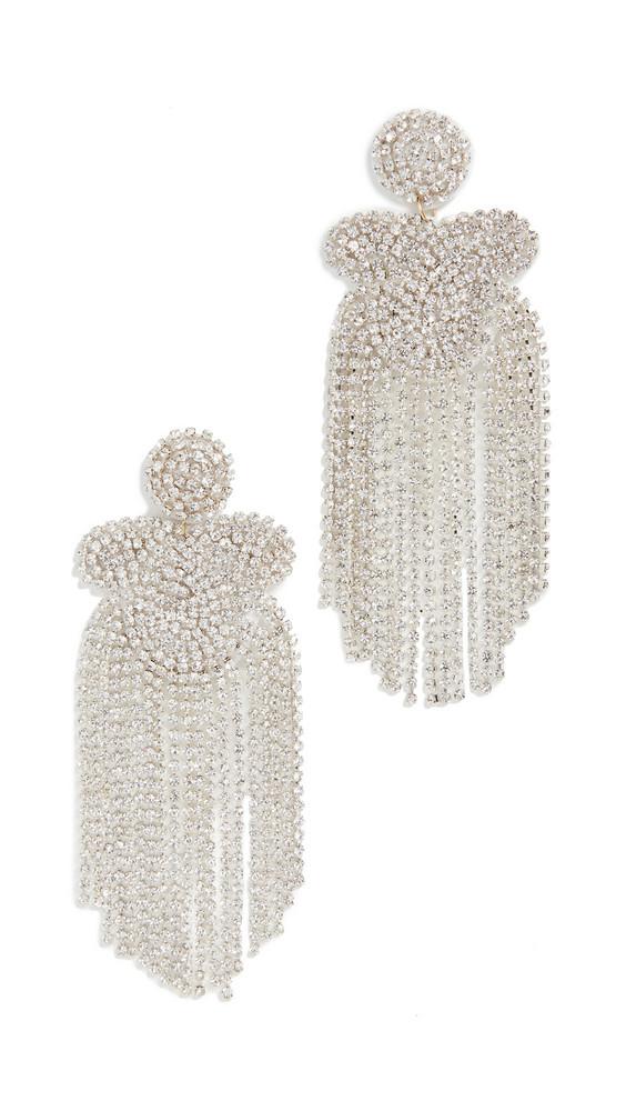 Kenneth Jay Lane Crystal Waterfall Earrings in silver