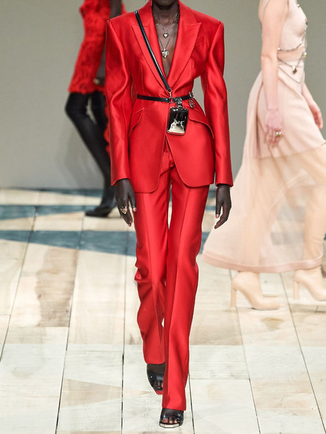 ALEXANDER MCQUEEN Double Duchesse Silk Straight Leg Pants in red