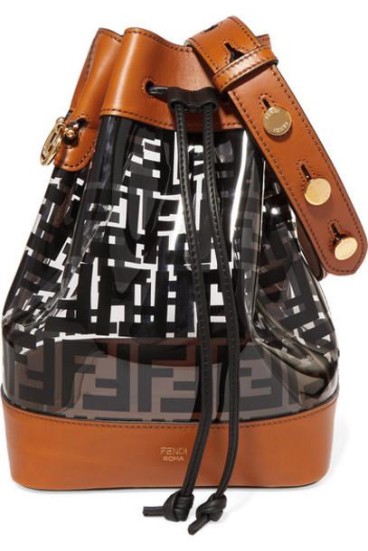 Fendi - Mon Trésor Medium Printed Pvc And Leather Bucket Bag - Black