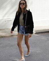 jacket,black jacket,fringes,denim shorts,ballet flats,t-shirt,black bag