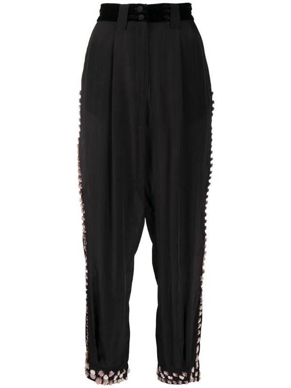 Forte Forte pom-pom trim tailored trousers in black
