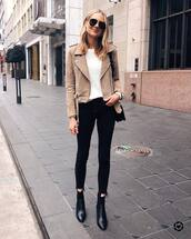 jeans,black skinny jeans,cropped jeans,black boots,ankle boots,suede jacket,white sweater,black bag