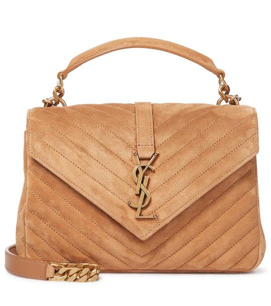 Saint Laurent Collège Medium suede shoulder bag in brown